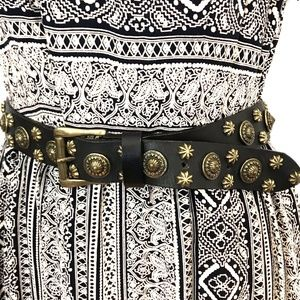 Accessories - Vtg Leather Made in Italy belt gold studded boho